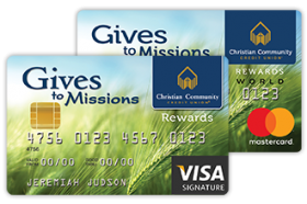 Christian Community Credit Union Gives to Missions World Mastercard