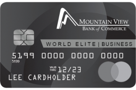 Mountain View Bank of Commerce MasterCard Business World Elite Credit Card