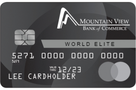 Mountain View Bank of Commerce MasterCard World Elite Credit Card